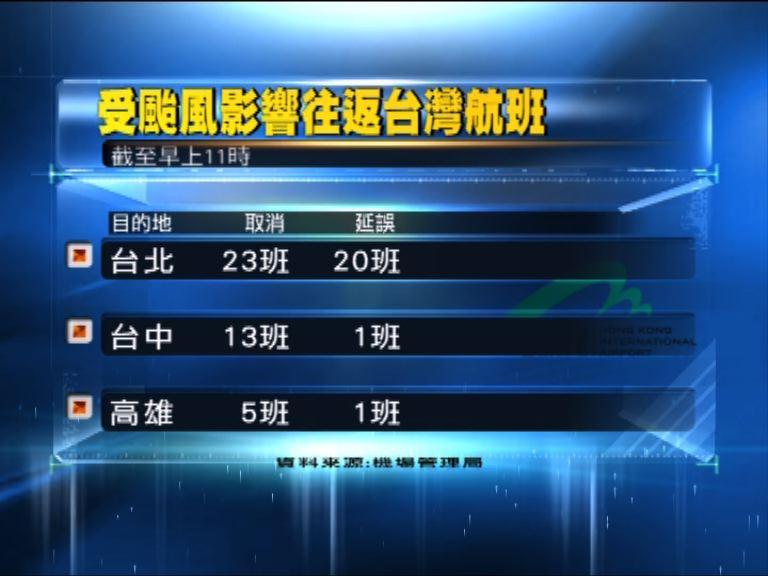 多班來往本港至台灣航班受影響