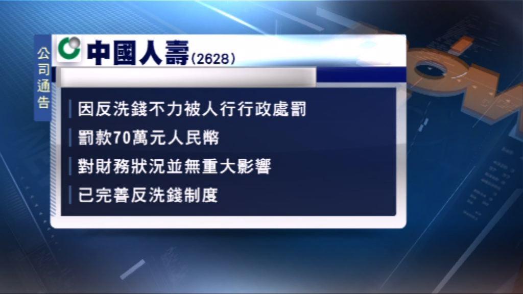 中人壽因反洗錢不力被罰款70萬人民幣