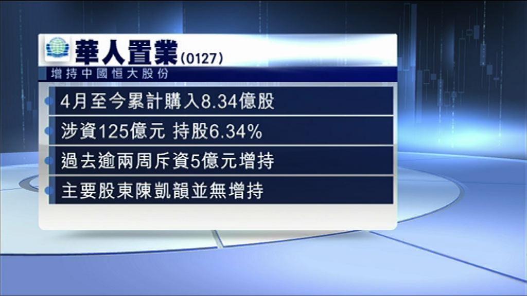 【再席掃貨】華置增持恒大至6.34%