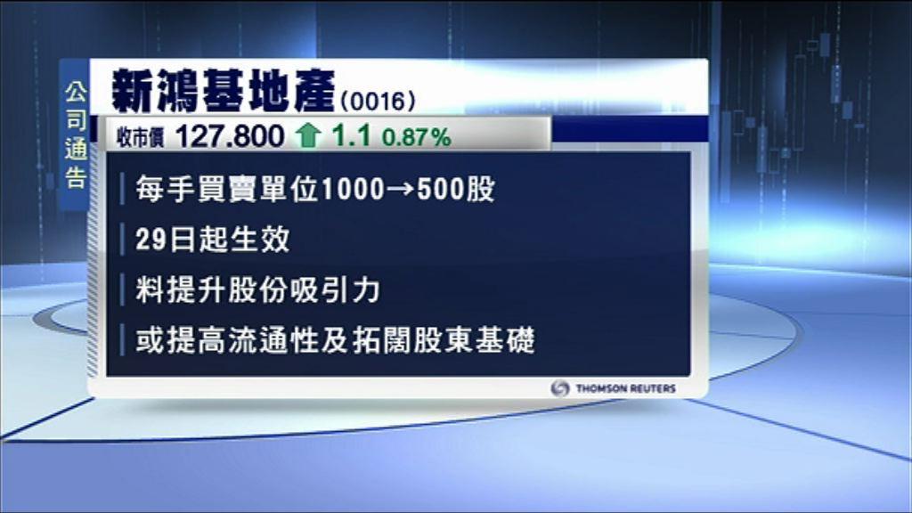 【拓股東基礎】新鴻基每手拆細至500股