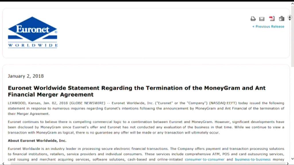 【螞蟻金服撻Q】對手Euronet或出價「翻兜」速匯金