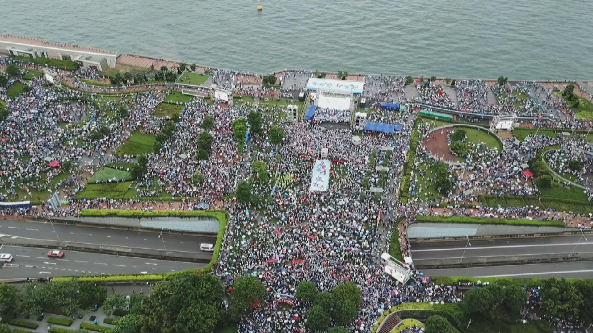 守護香港集會 大會稱47.6萬人出席