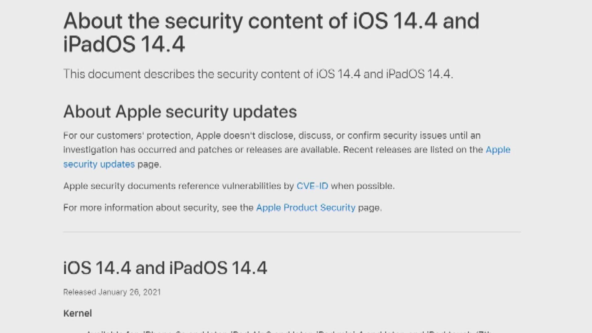 蘋果指iOS現保安漏洞籲盡快更新