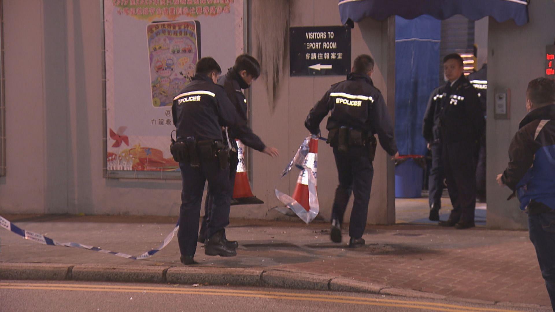 紅磡警署遭三黑衣人投擲汽油彈縱火