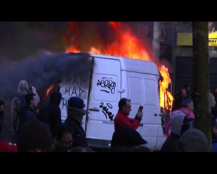 比利時示威演變成警民衝突