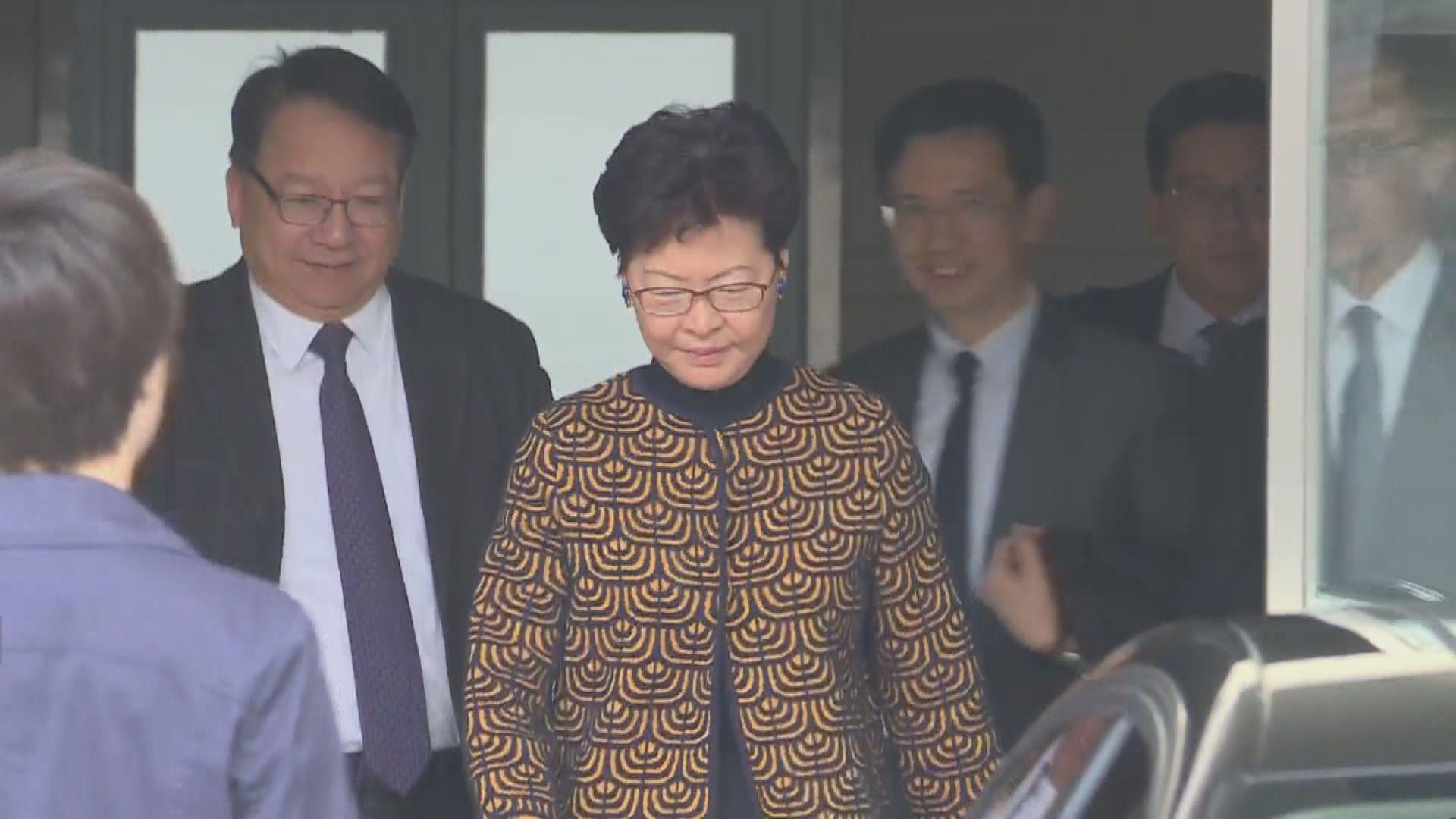 林鄭月娥赴港澳辦與張曉明會面