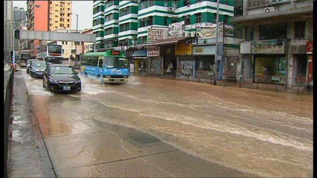 土瓜灣地下鹹水管爆裂交通受阻