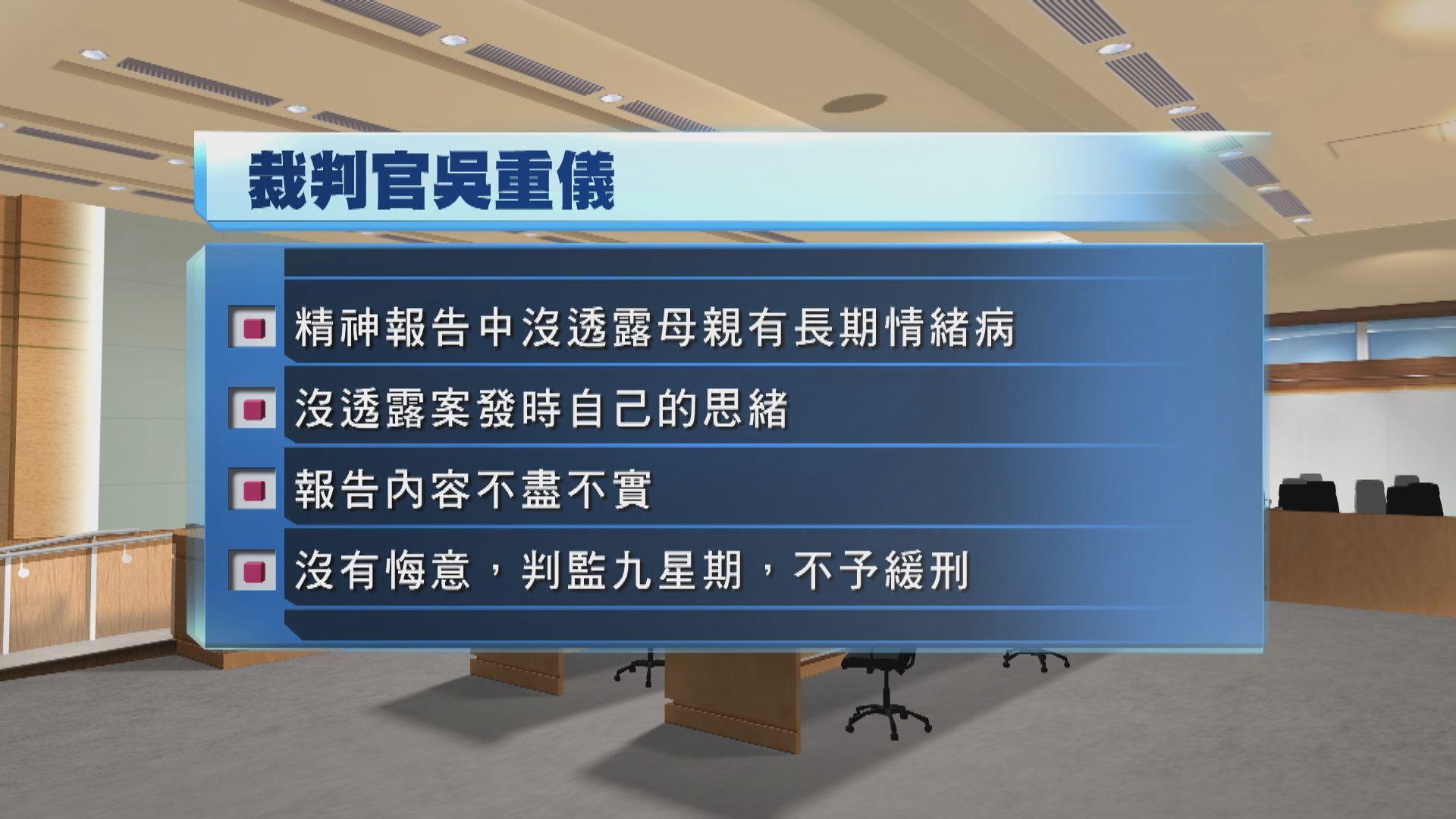 教師襲警罪成囚九周 官指被告無悔意不予緩刑