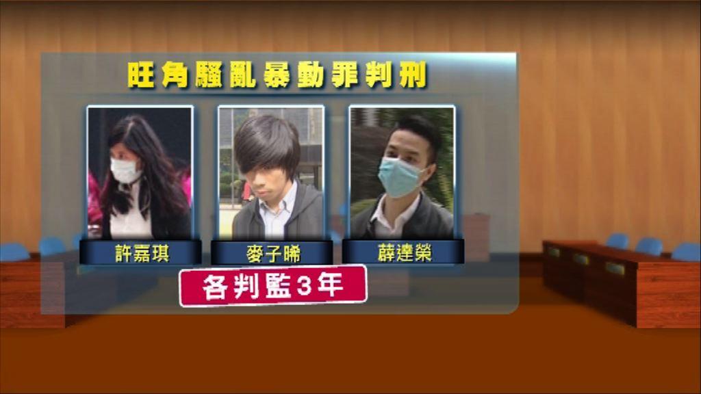 旺角騷亂三人暴動罪成 法官:不應姑息行為