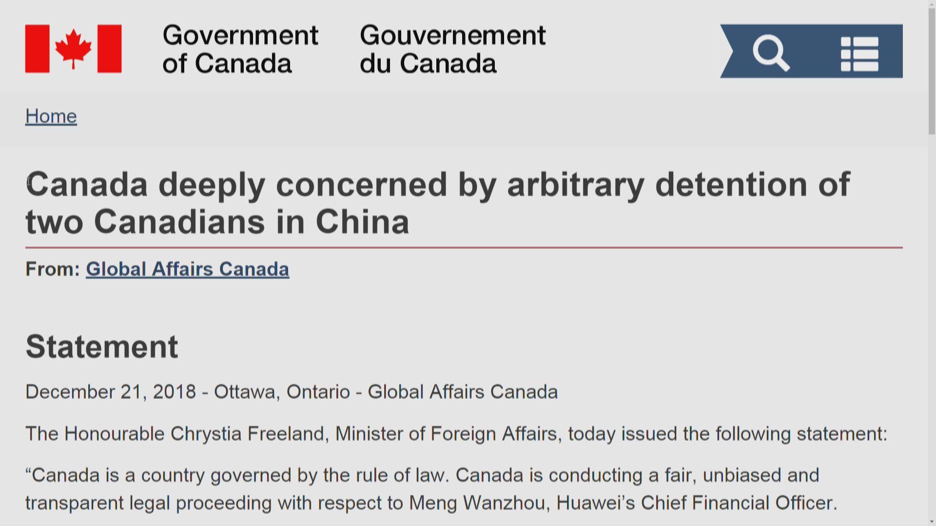 美國發聲明要求中國立即釋放加拿大公民