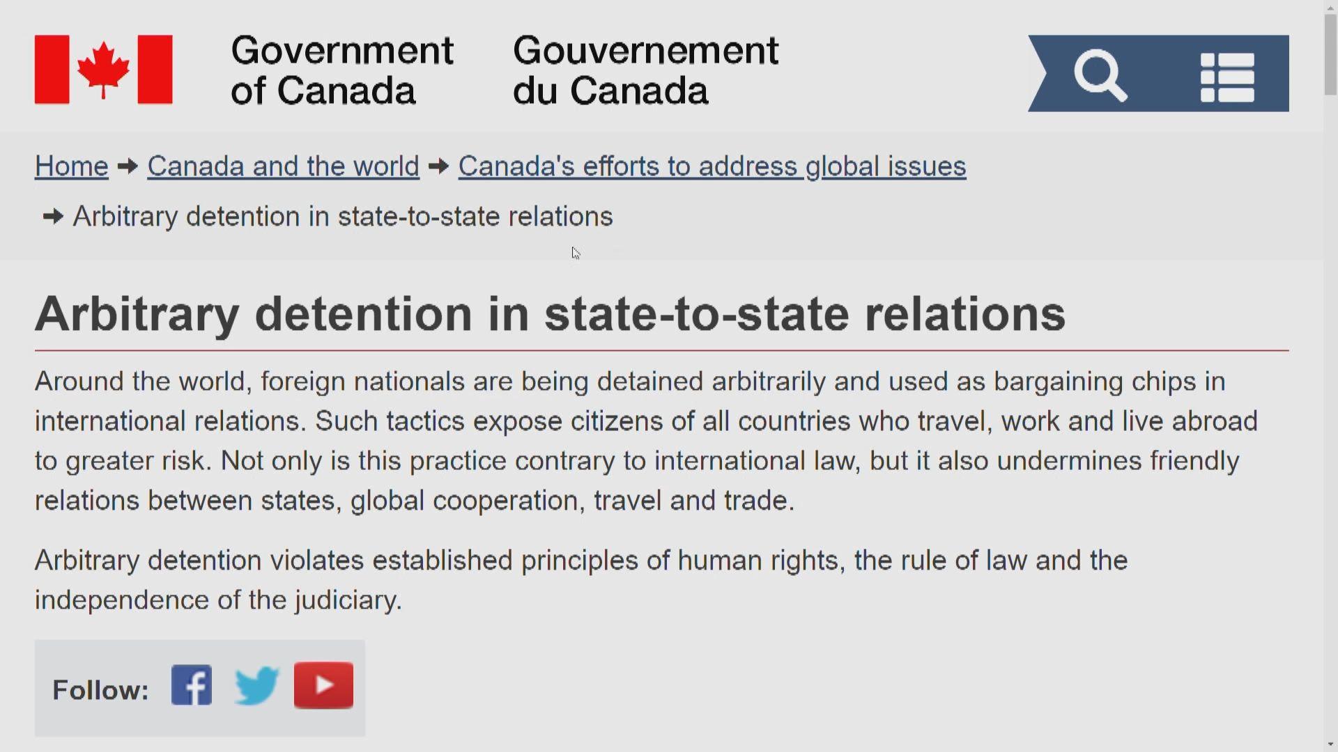 加拿大與58國促停止任意拘留外國公民