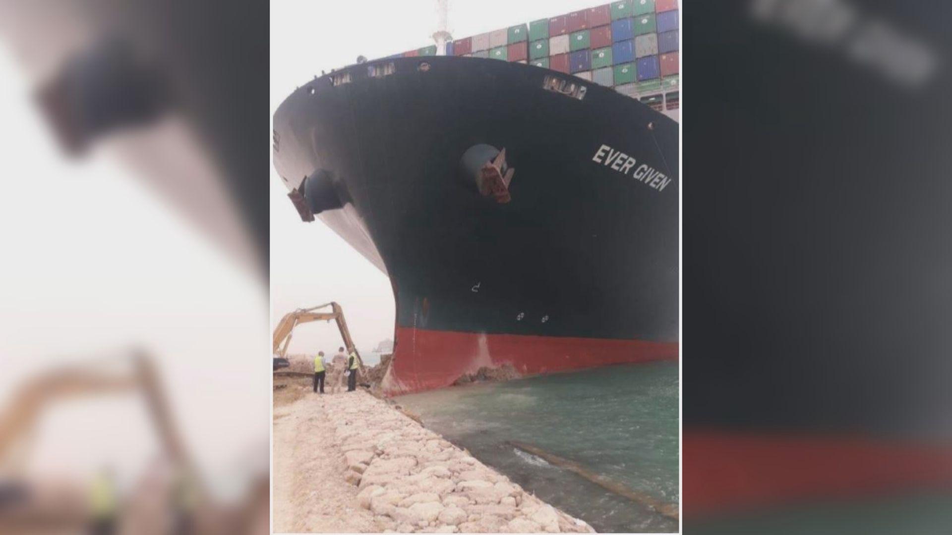 蘇彝士運河擱淺超大型貨輪未移走 河道未來一兩天或仍無法通航