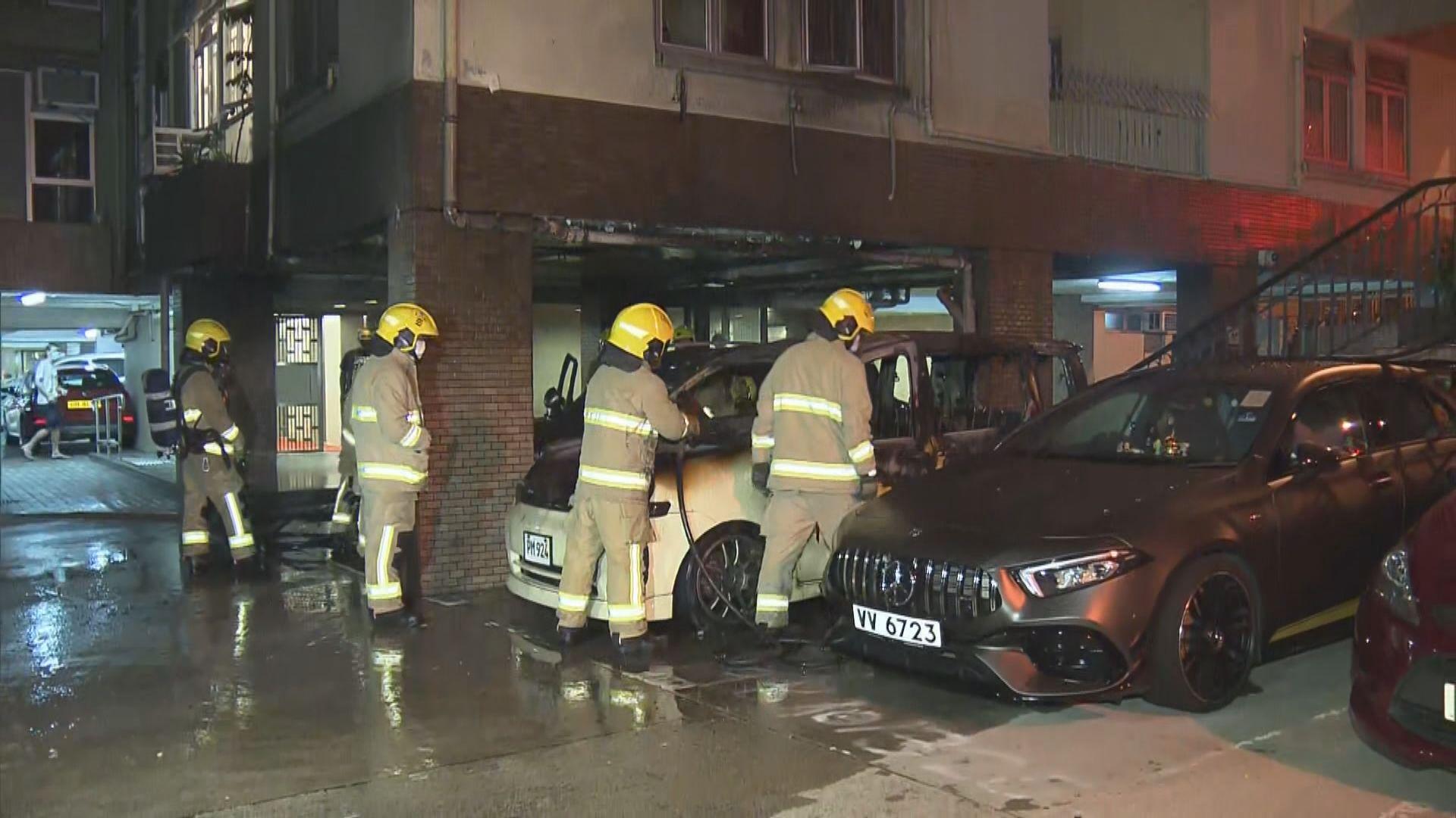 美孚新邨私家車被縱火波及兩車無人傷