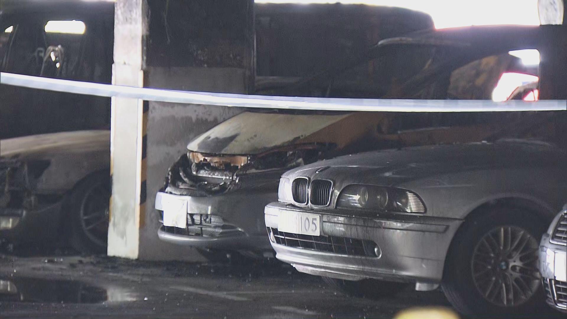 將軍澳景林邨縱火案 至少26輛車被焚毀