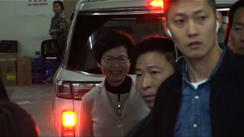 林鄭月娥出席社聯論壇遇示威