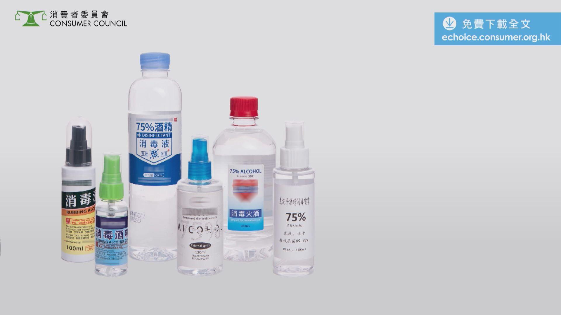 消委會:6款消毒酒精含甲醇 七成半樣本濃度低於標示