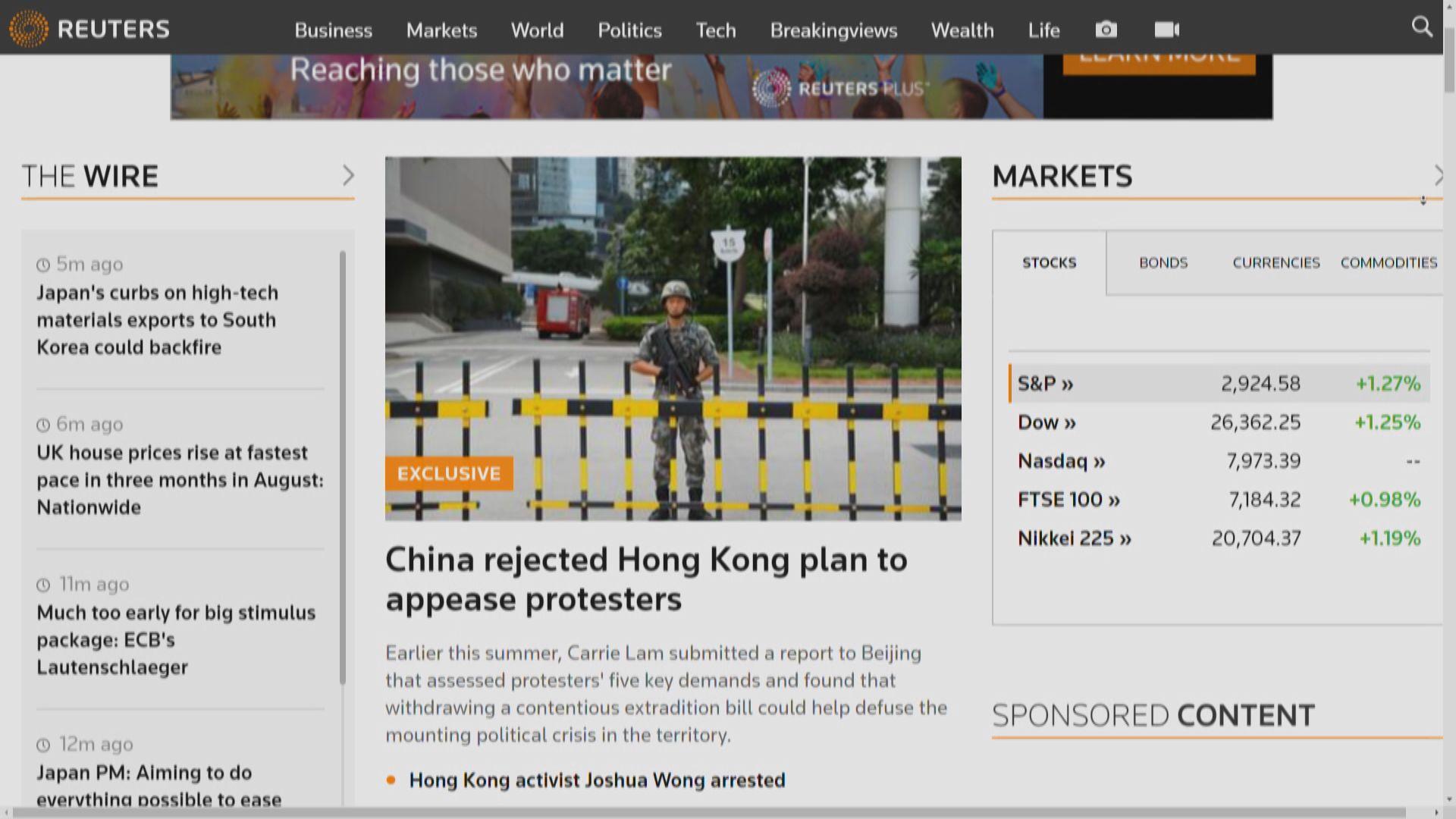 路透社:北京拒絕特區政府回應五大訴求
