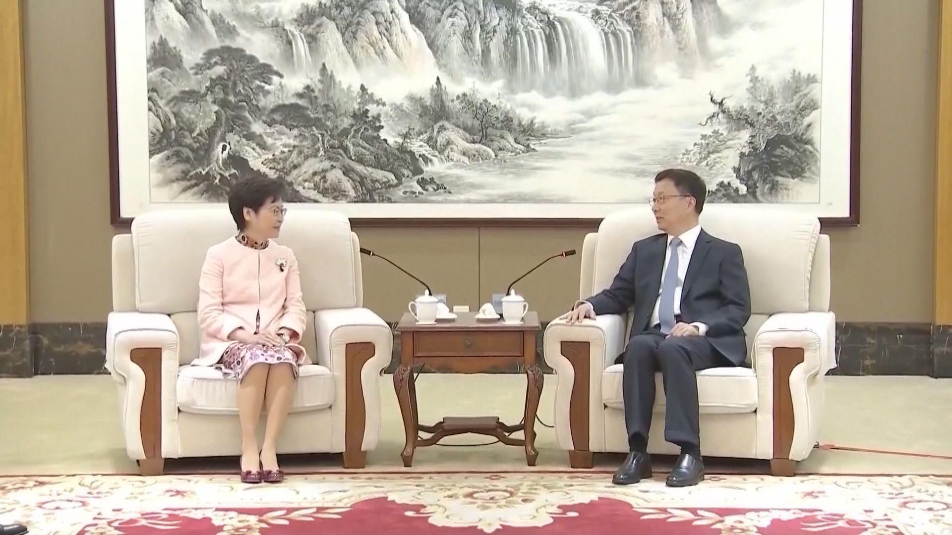 林鄭月娥:與韓正會面沒有談及連任問題