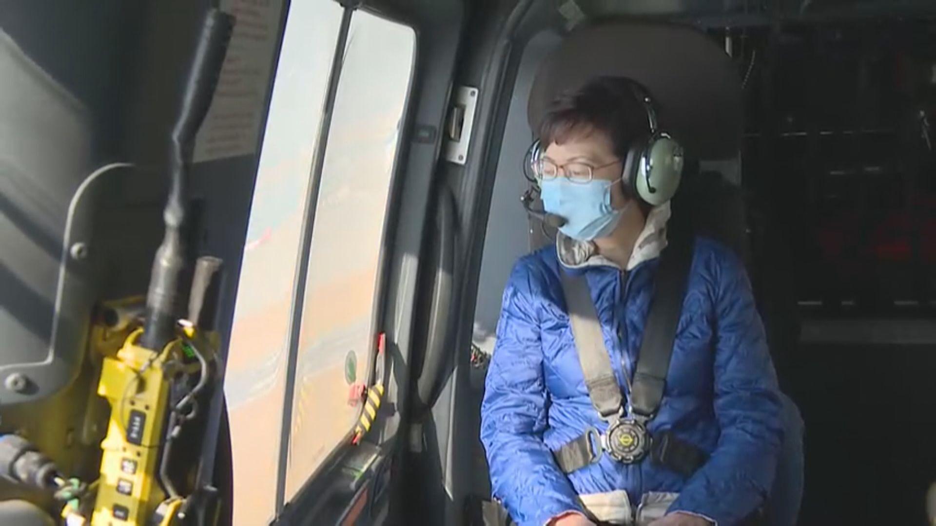 林鄭坐直升機俯瞰多個新發展項目