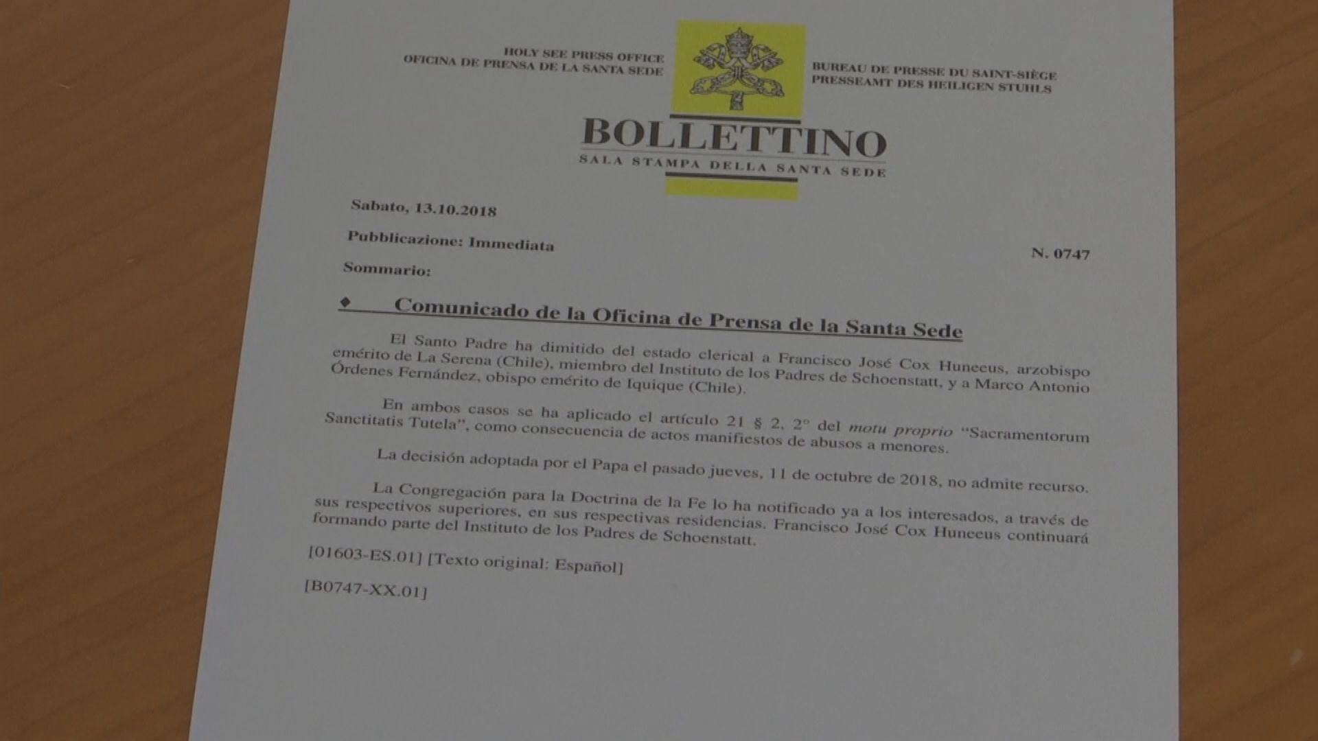 兩智利主教涉性侵兒童遭免職