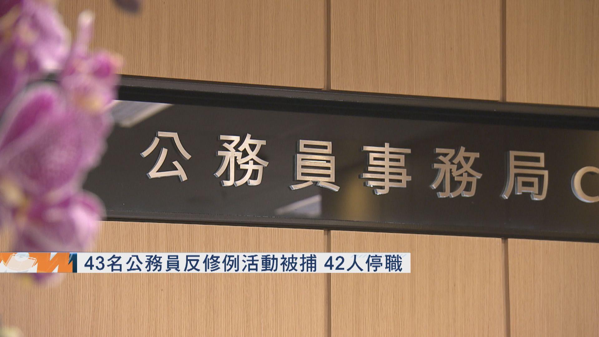 43名公務員反修例活動被捕 42人停職