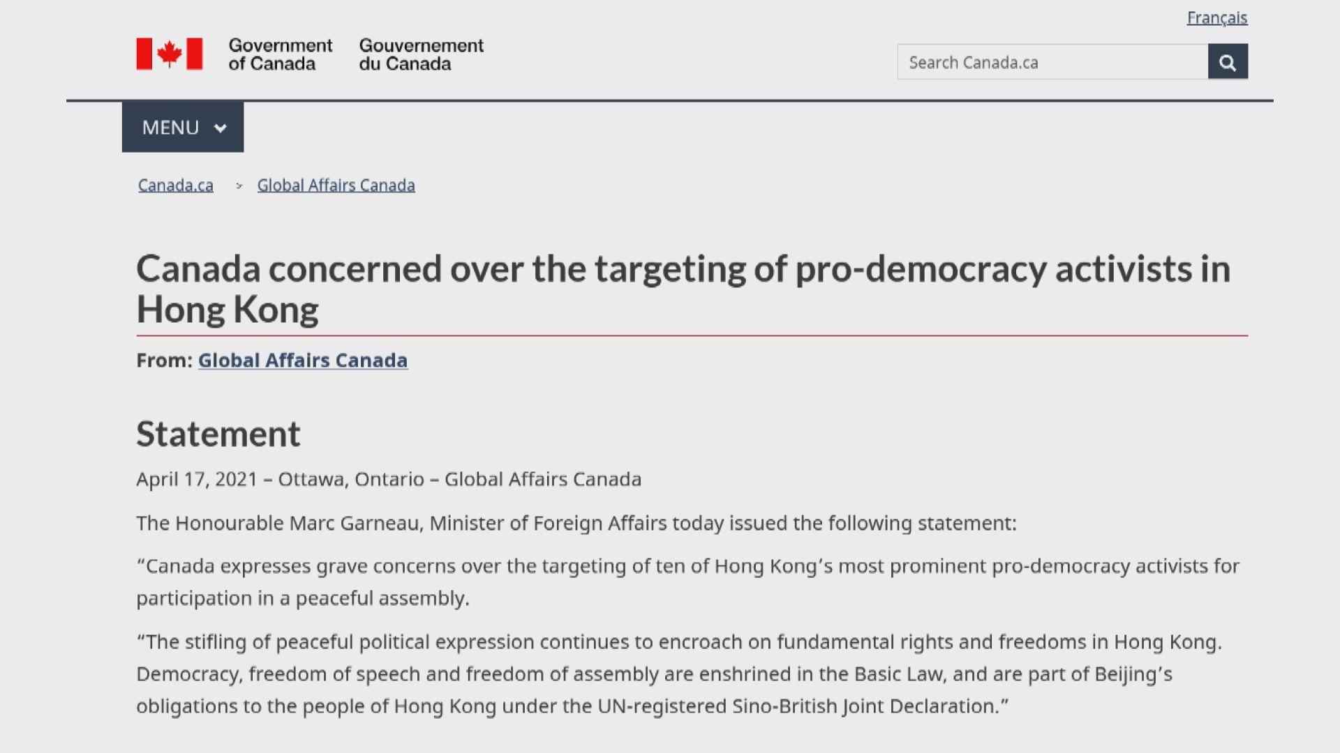 中國駐加拿大使館發言人不滿加外長涉港聲明