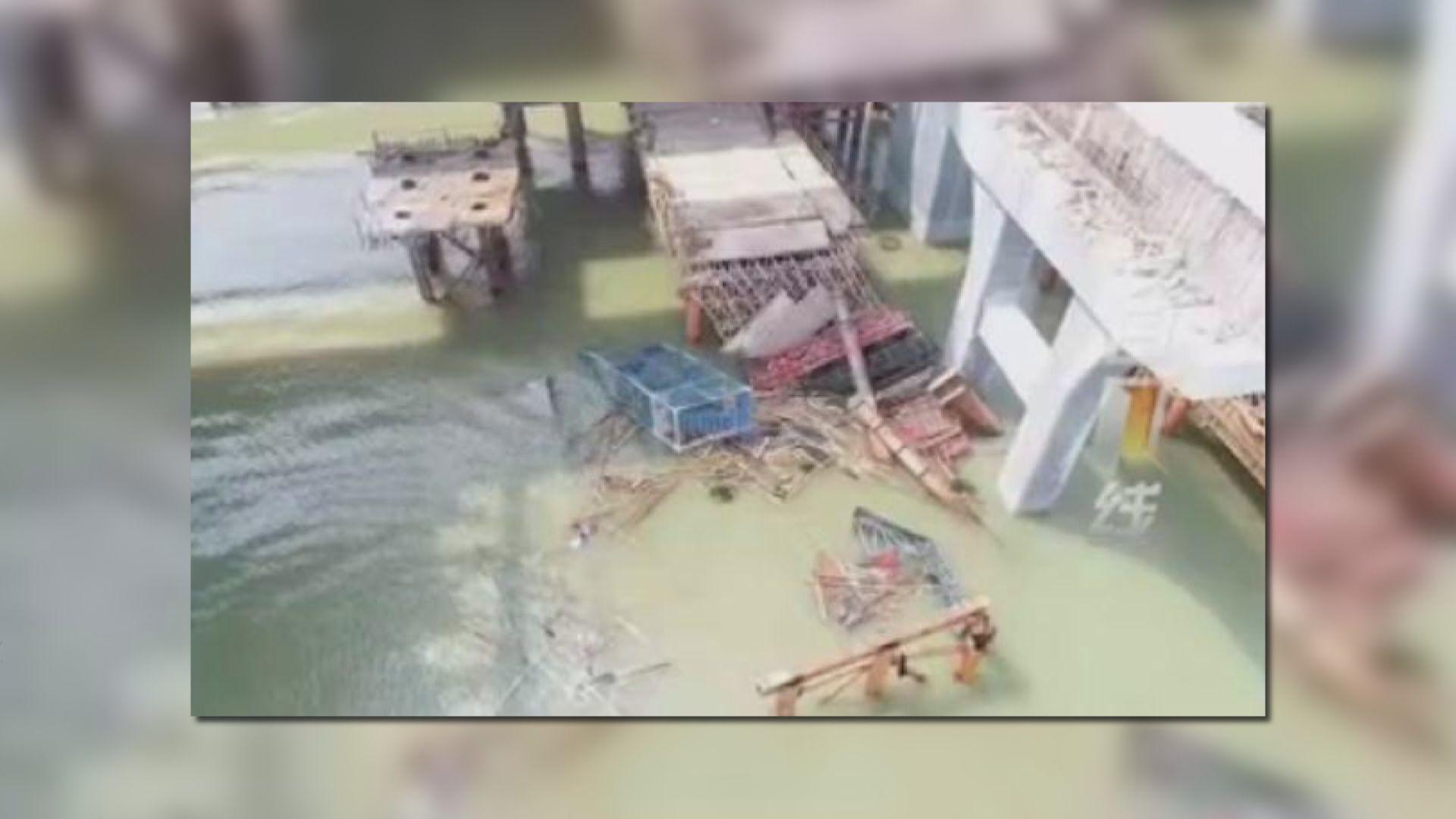 珠海金海大橋施工段倒塌至少兩死