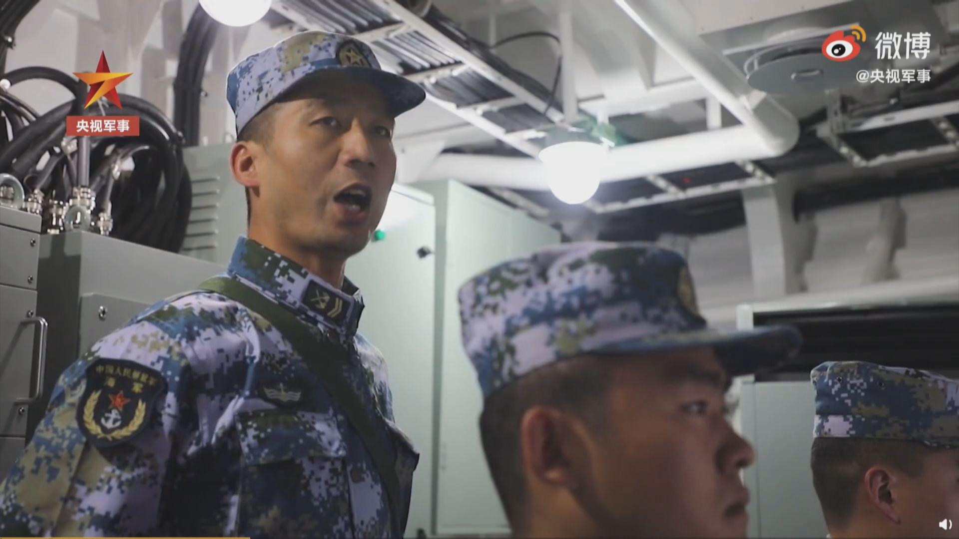 解放軍在東海進行驅逐艦實彈演習