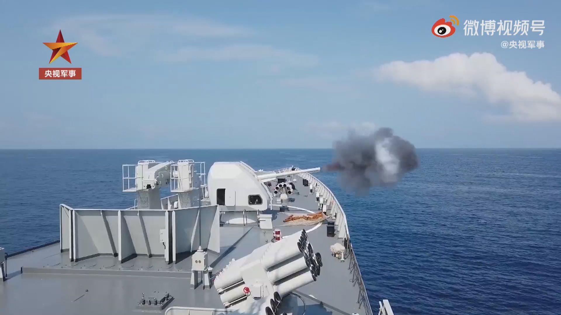 解放軍南部戰區艦隻於南海進行實彈演練