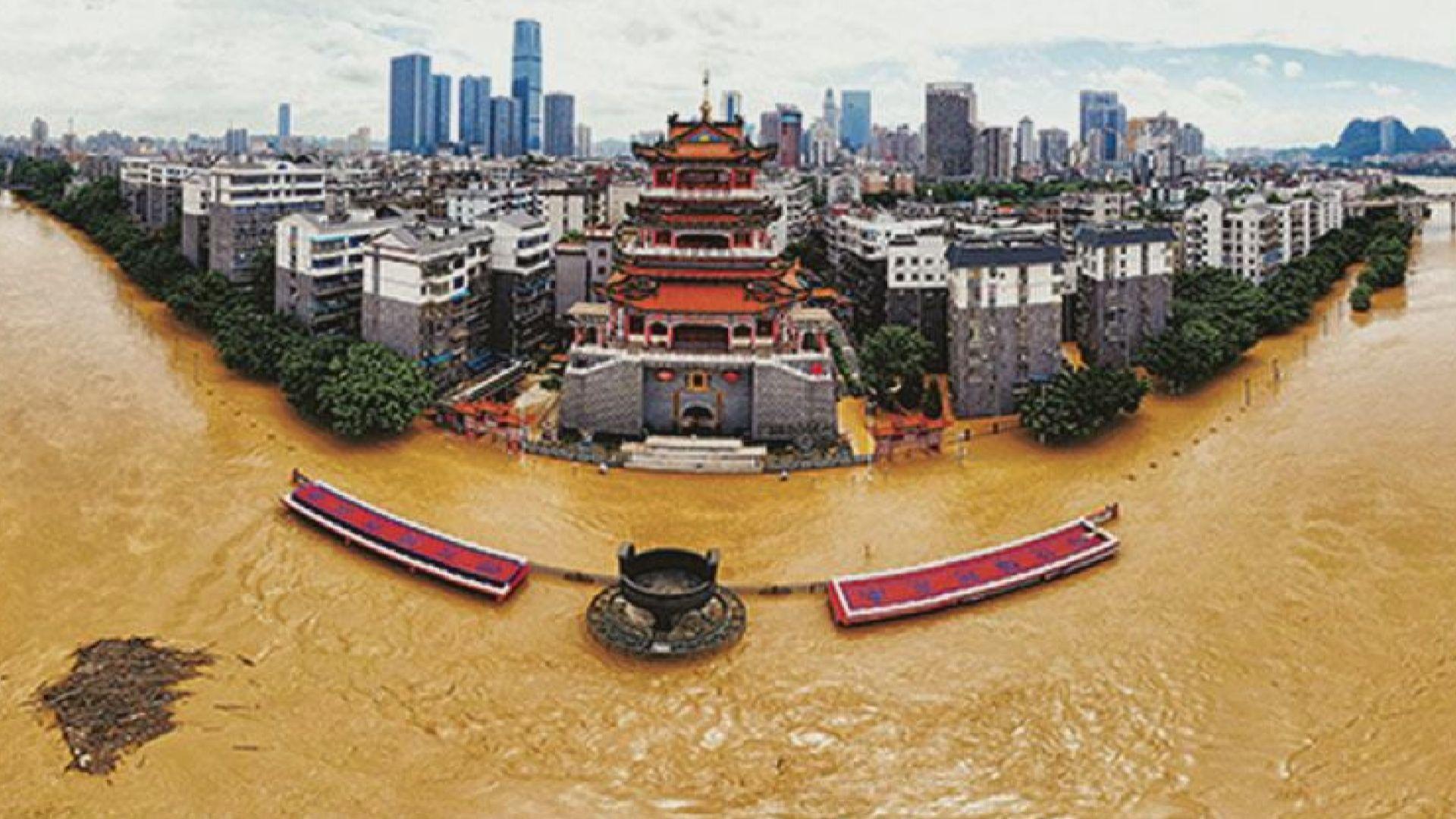 內地水災持續 昌江河變成「地上河」