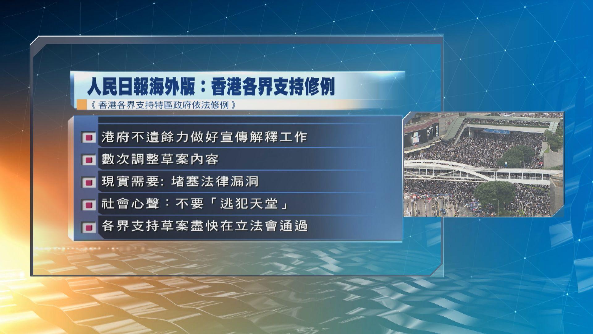 人民日報海外版︰香港各界支持政府依法修例