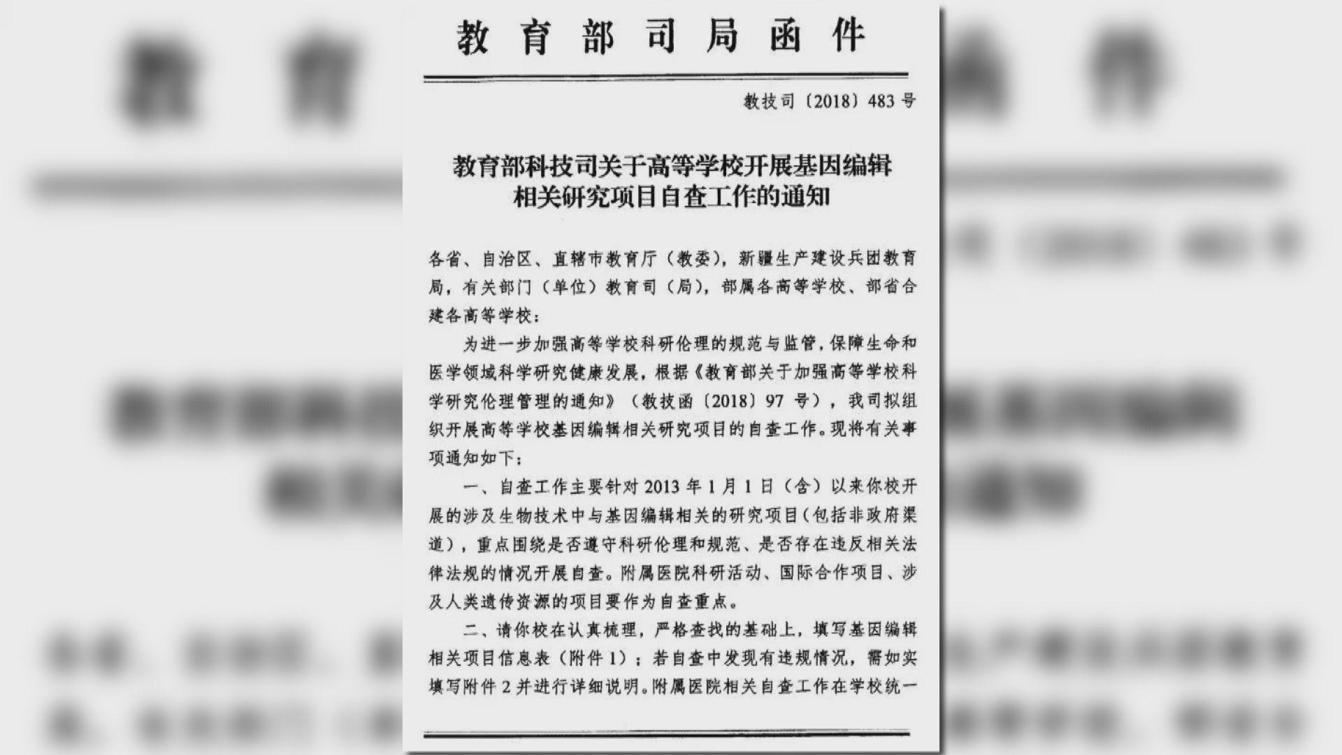 中國教育部要求審查基因編輯研究項目