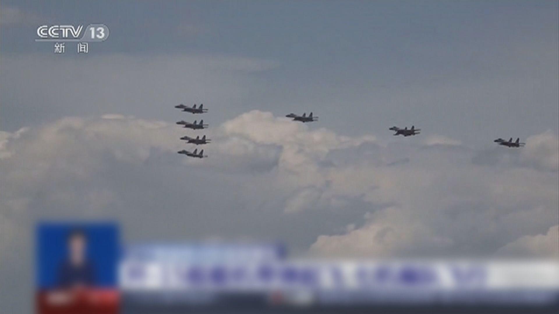 內地殲-15戰機編隊完成帶彈起飛