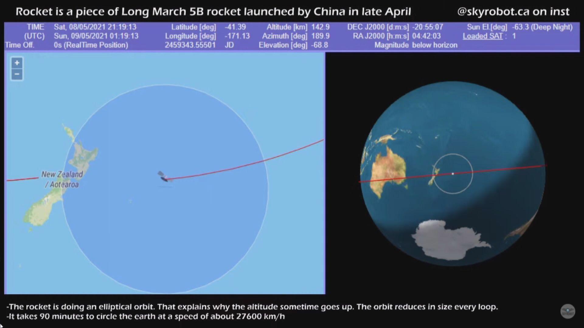 長征五號火箭殘骸預計今早至中午墜落地球