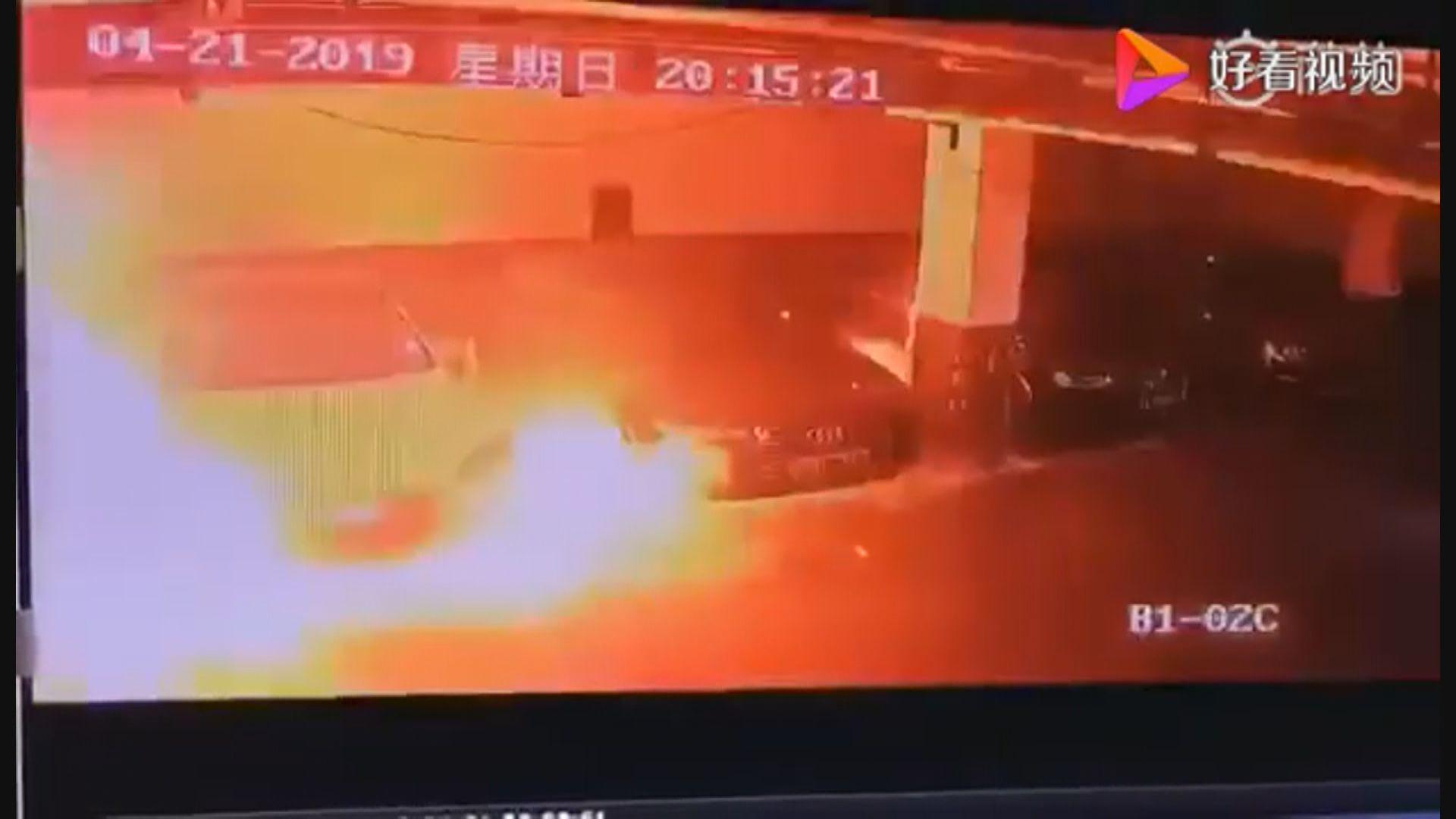 上海一輛TESLA電動車起火無人傷亡
