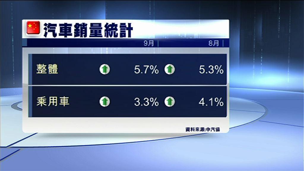 【升幅收窄】內地上月乘用車銷量增3.3%