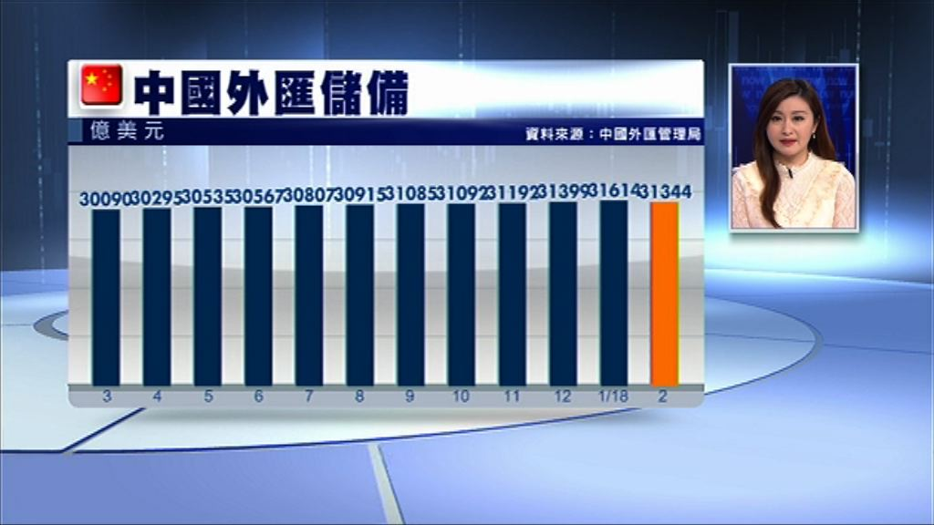 【12連升斷纜】內地2月外儲跌至3.13萬億美元