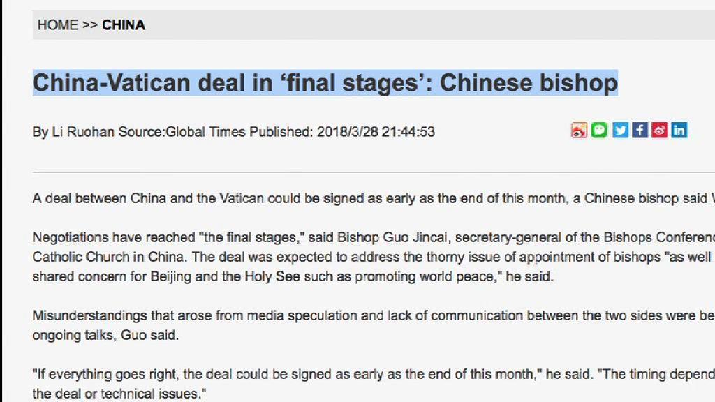 梵蒂岡指現階段中梵不會簽署協議