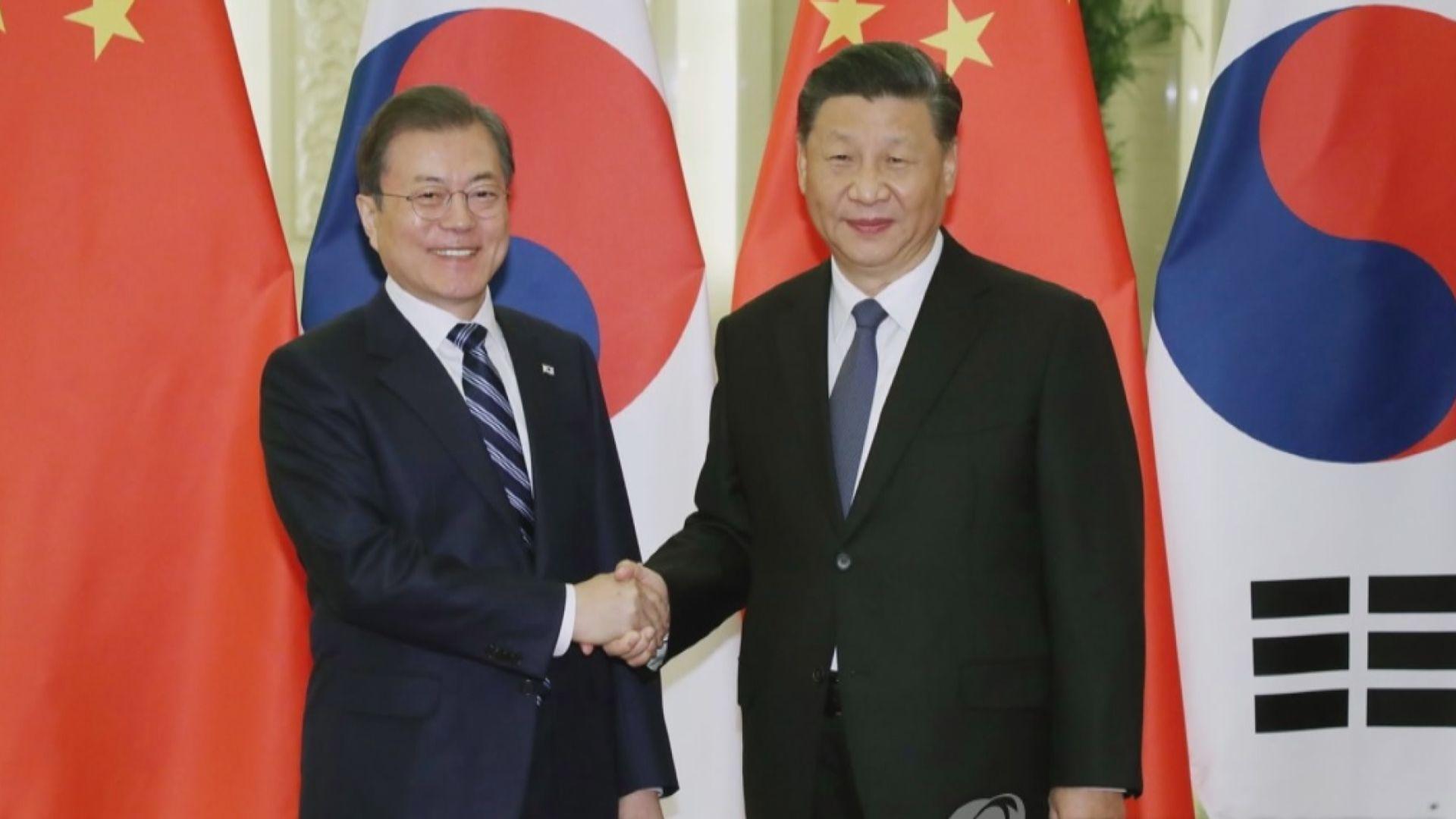 日韓領導人訪華在北京與習近平會面
