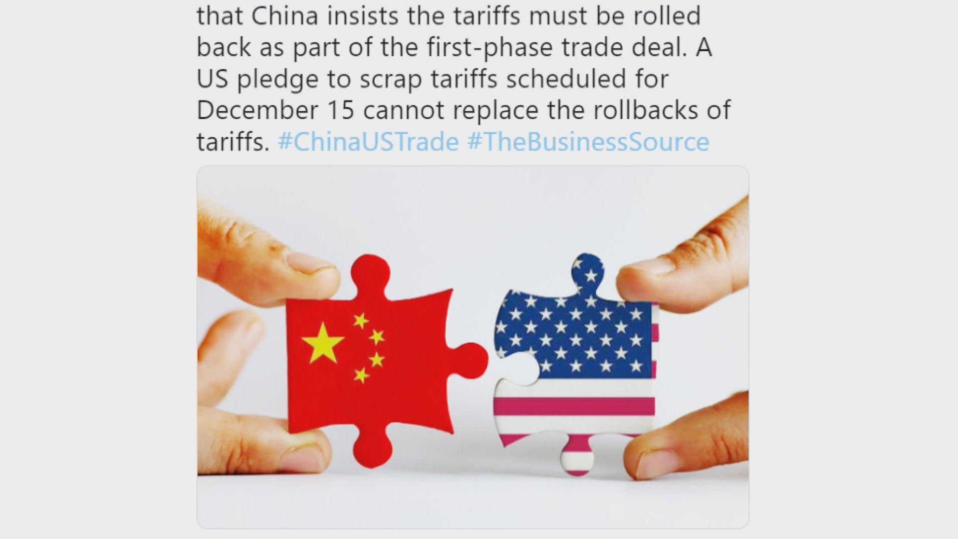 傳中方堅持美須撤銷對華貨品加徵的關稅