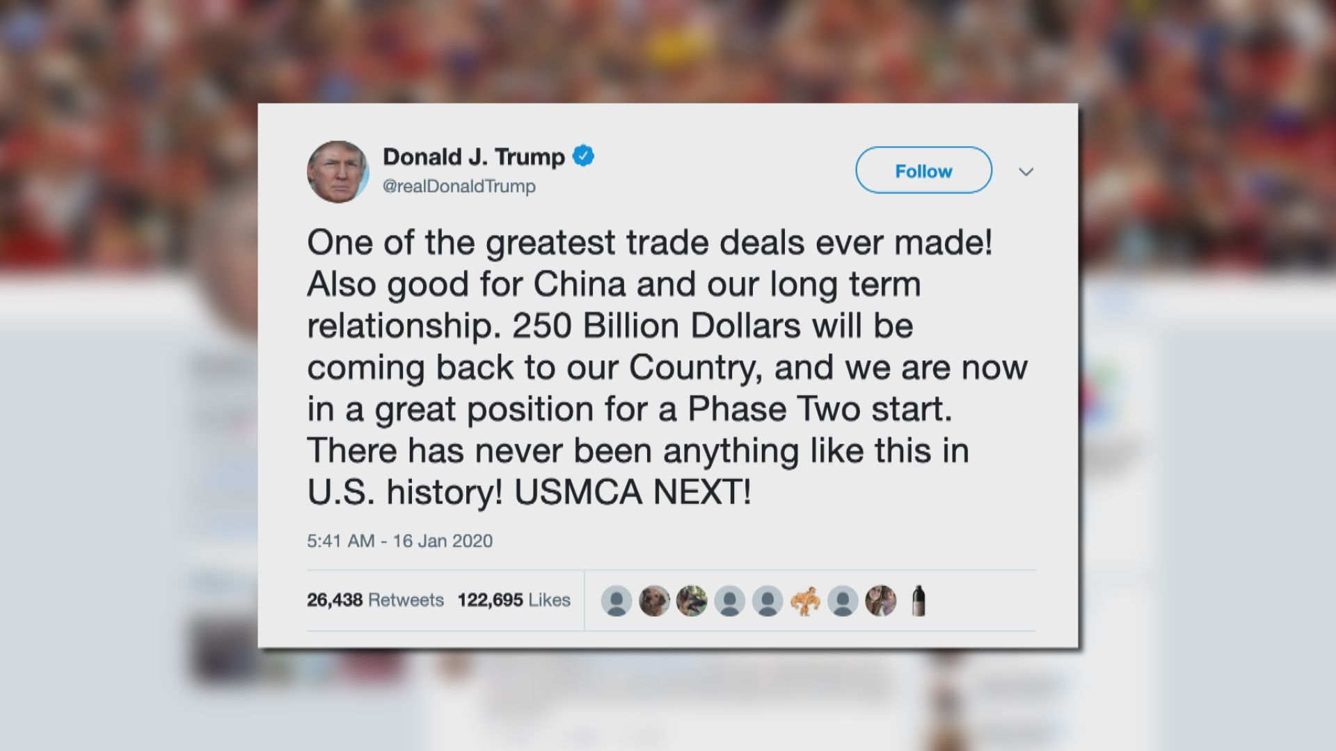 特朗普:美國現處於啟動次階段中美貿談有利位置