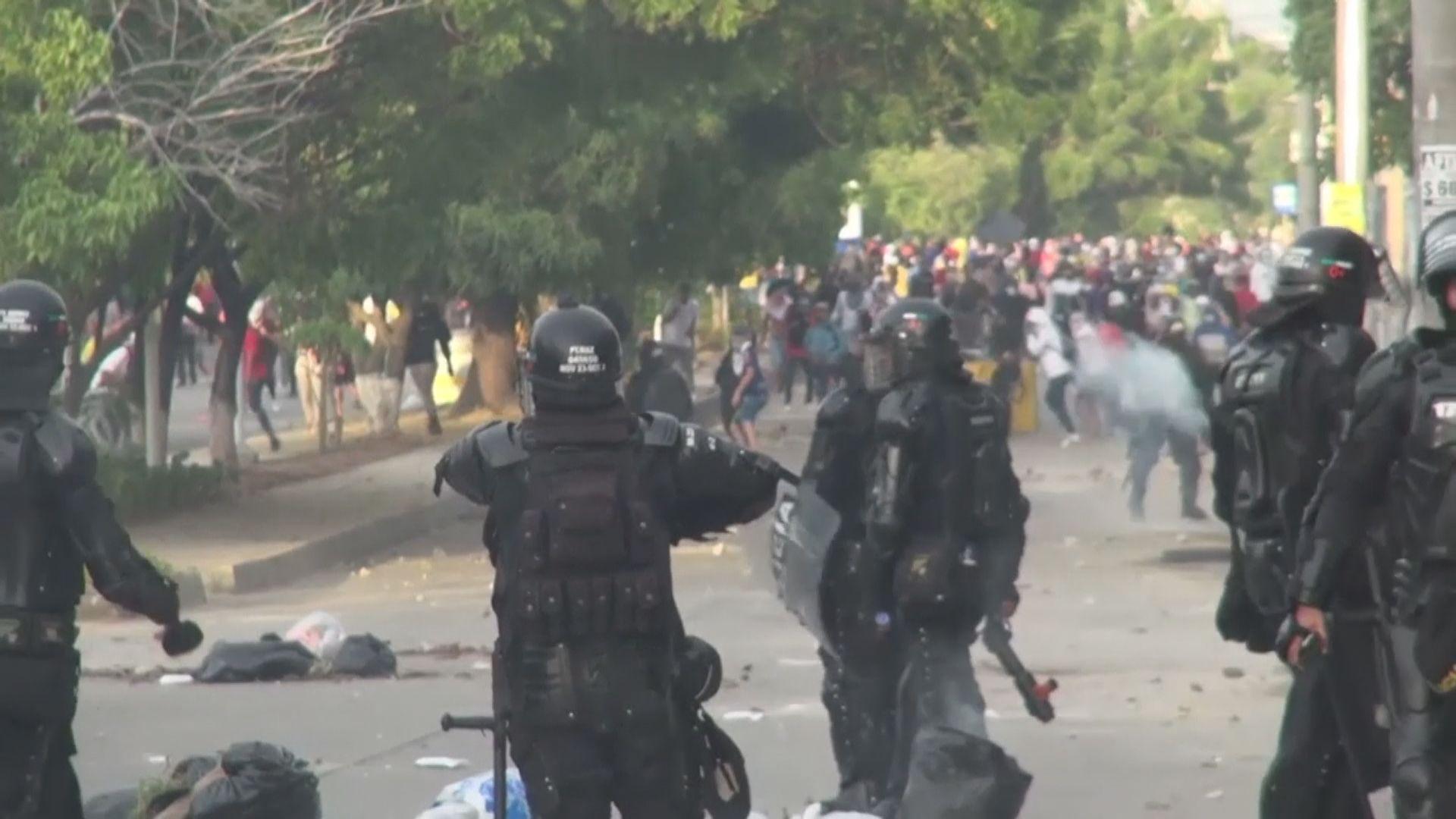 哥倫比亞世界盃外圍賽場外爆警民衝突