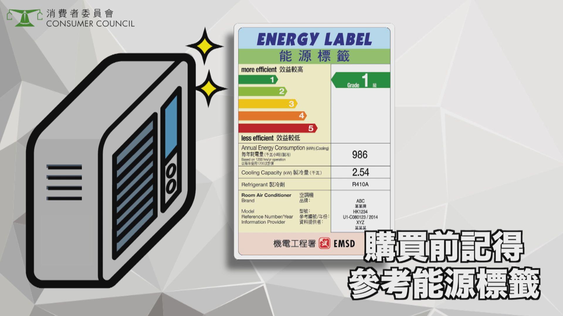 一款冷氣機能源效益標籤與實際不符