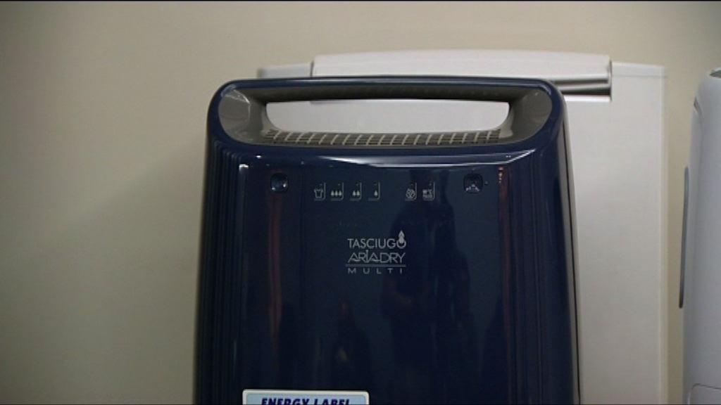 消委會:3部抽濕機抽濕量較聲稱低逾一成