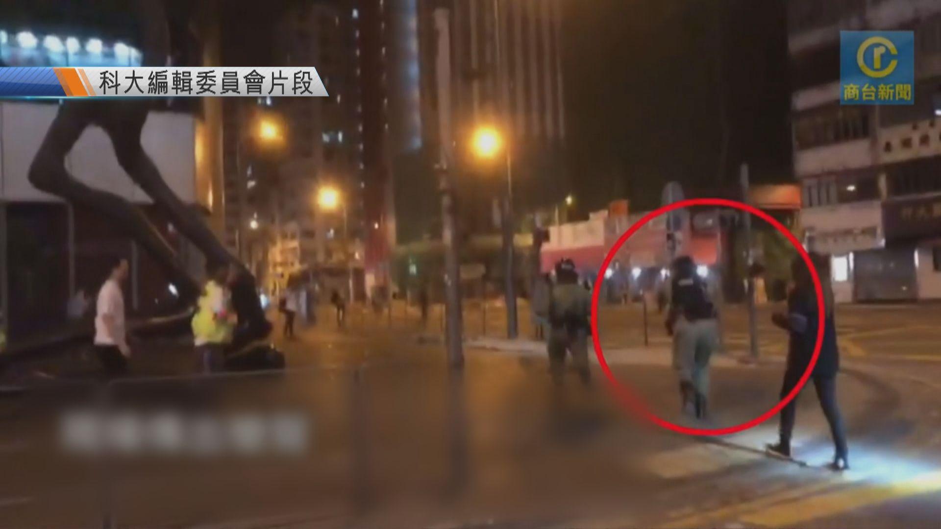 商台記者凌晨採訪疑遭海綿彈擊中背囊