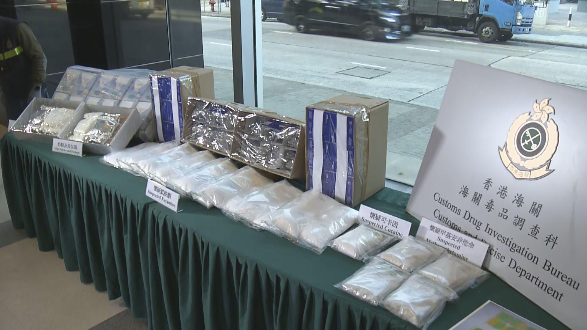 海關檢獲逾1400萬元毒品 拘兩人
