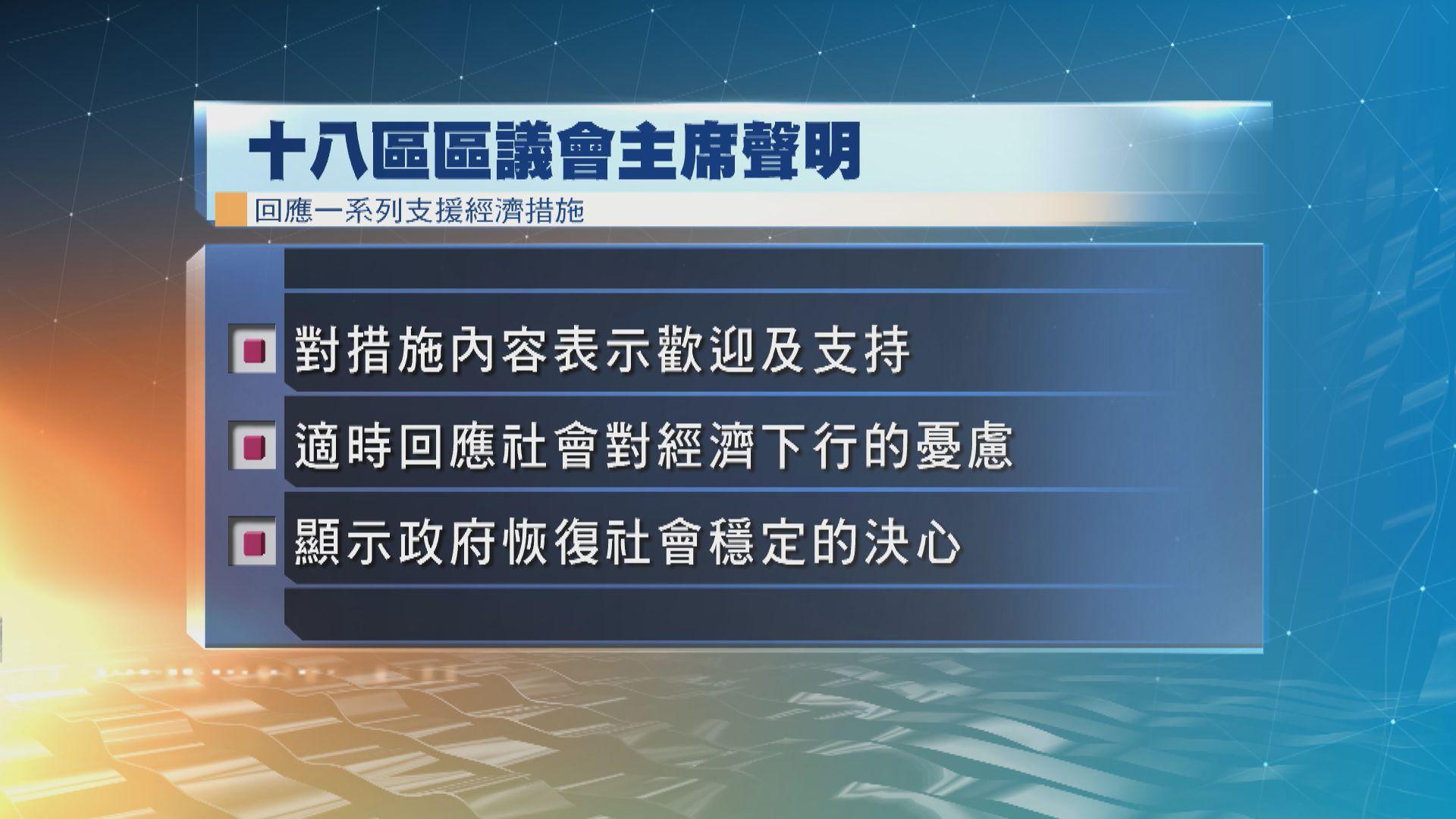 十八區區議會主席支持政府支援經濟措施