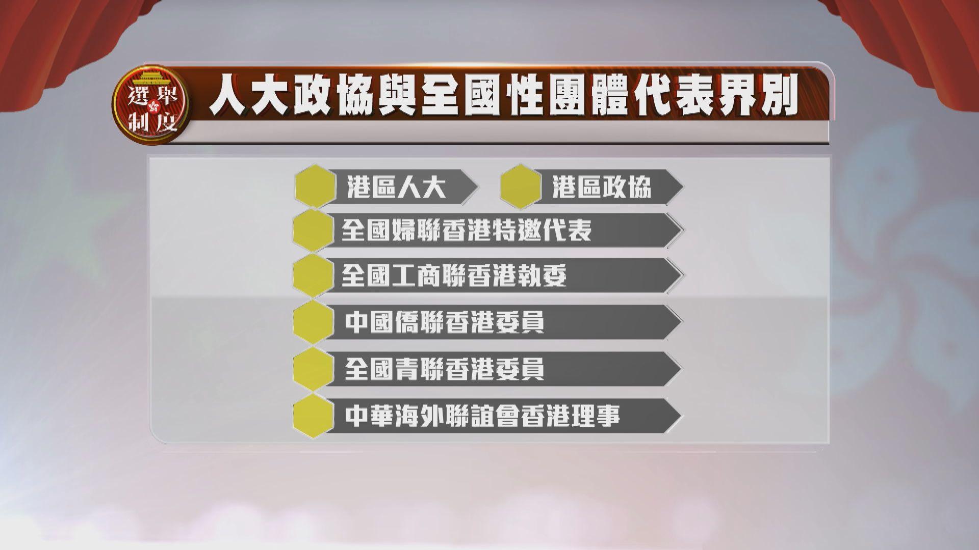 功能組別只有9個個人票界別 包括新增的人大政協與全國性團體