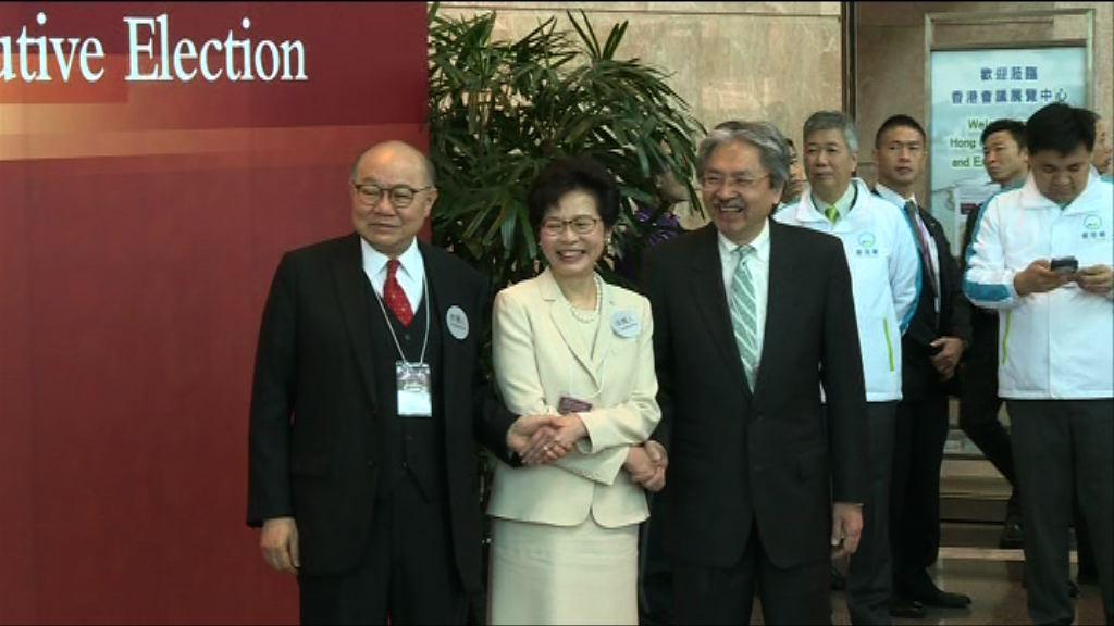 特首選舉開始投票 三候選人碰頭互相握手