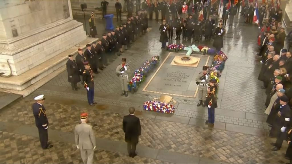 英法舉行儀式悼念戰時捐軀士兵